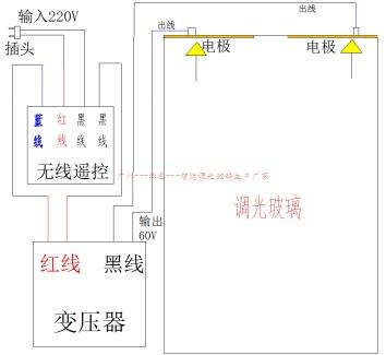 双边电极接线 简易电源与自贴式调光膜安装接线说明(带遥控)  1,电路